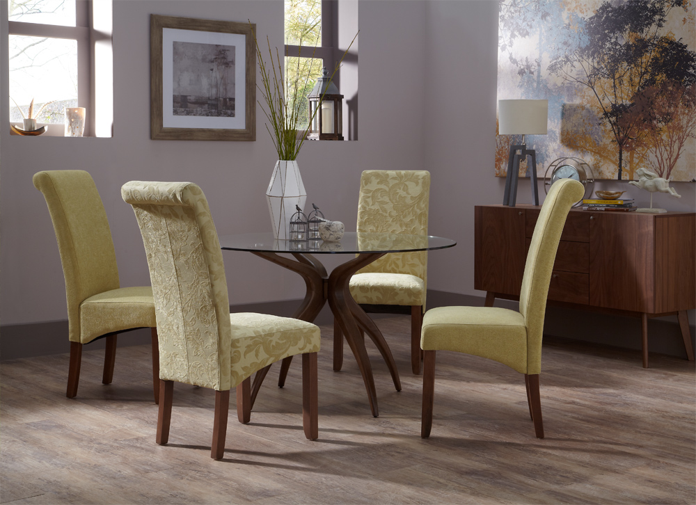 Set of 2 Melbourne Floral Fabric Upholstery Fixed Dining Chairs Seat Walnut Legs