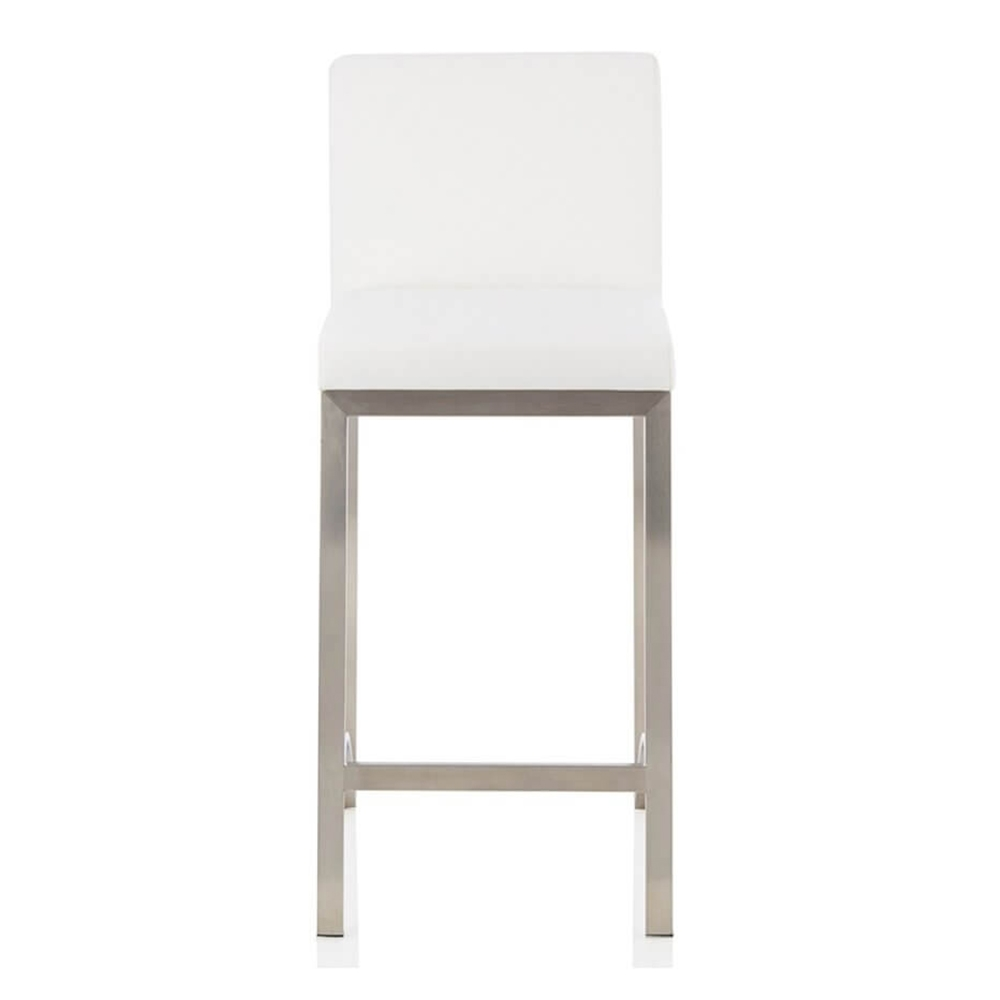 27c6069ac789 Set of 2 Delia Counter Height Bar Stool PU Leather Seat Stainless ...