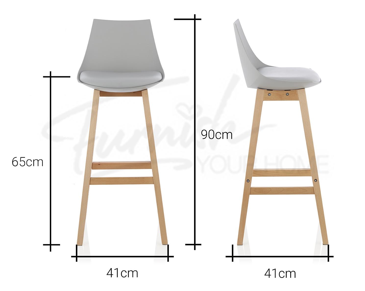 Set Of 2 Ashton Counter Bar Stool Pu Leather Backrest Seat