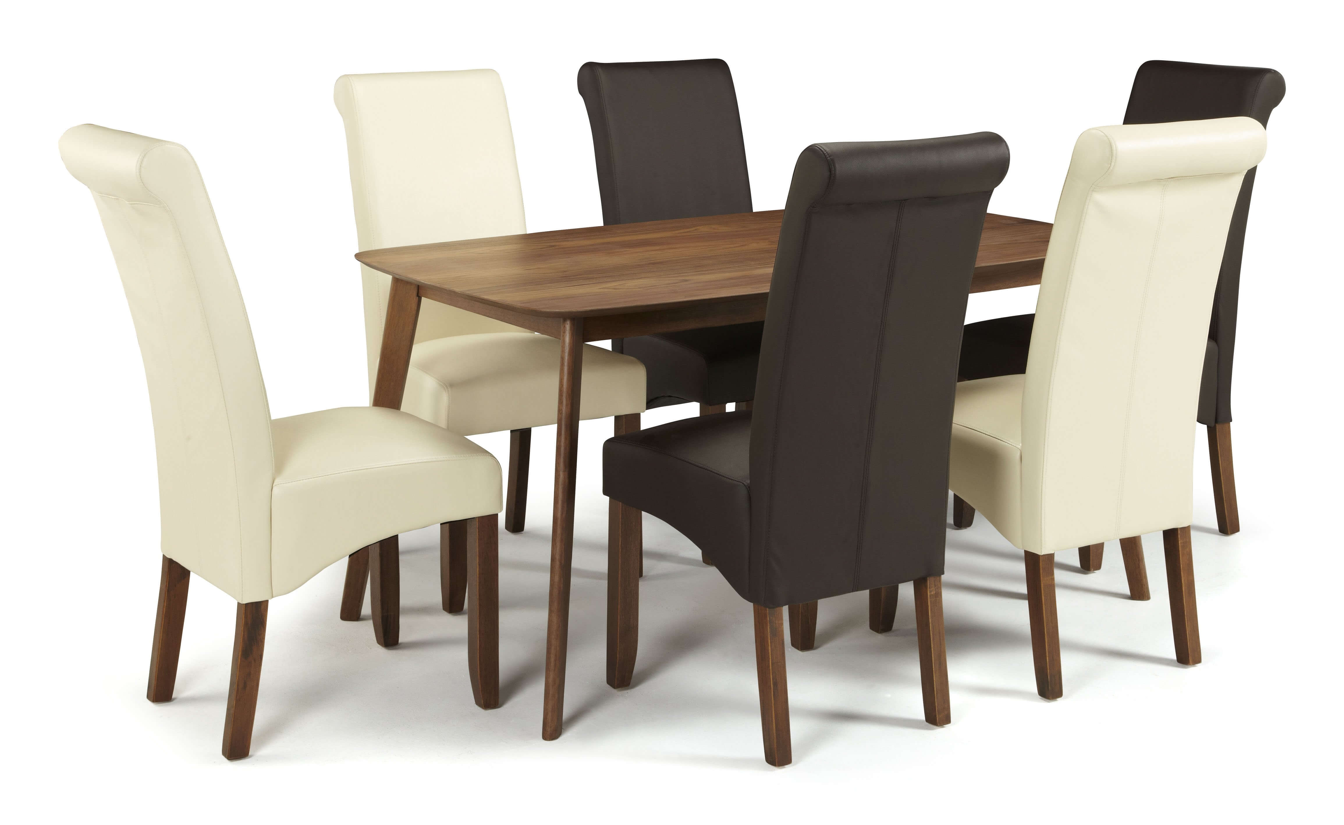 Melbourne Faux Leather Dining Chairs with Walnut Legs