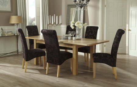 Brisbane Extendable and Melbourne Floral Fabric Dining Set