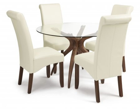 Bathurst Rounded Glass and Melbourne Faux Dining Set