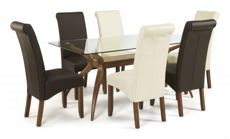 Bathurst Rectangular Glass and Melbourne Faux Dining Set