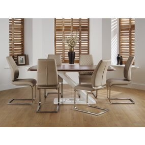Hockley Walnut and Hammond Faux Leather Dining Set