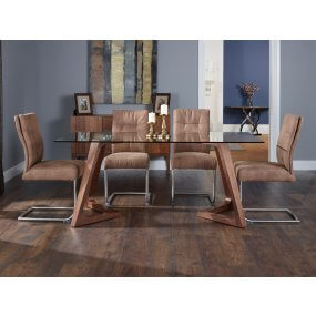 Moseley 180 cm Clear Glass and Campbell Faux Leather Dining Set