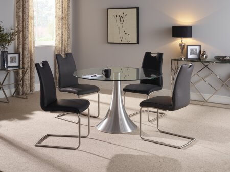 Brindley 120 cm and Chamberlain Faux Leather Dining Set