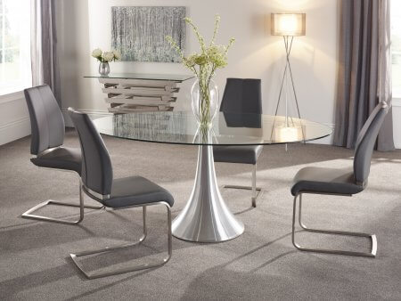 Brindley 180 cm and Lynne Faux Leather Dining Set