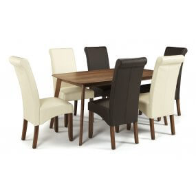 Sorrell 150cm Walnut and Melbourne Faux Leather Dining Set