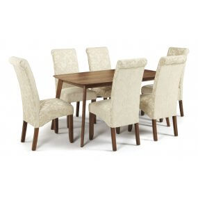 Sorrell 150cm Walnut and Melbourne Floral Fabric Dining Set