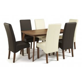 Sorrell 150cm Walnut and San Diego Faux Dining Set