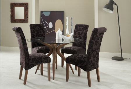 Bathurst Rounded Glass and Melbourne Floral Dining Set