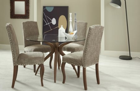 Bathurst Rounded Glass and Darwin Fabric Dining Set