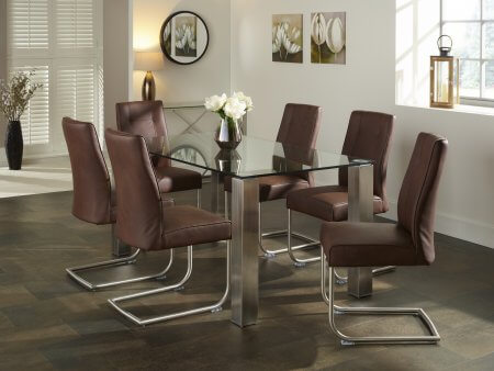 Harborne 160 cm and Boulton Faux Leather Dining Set