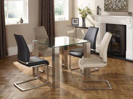 Harborne 90 cm and Lynne Faux Leather Dining Set
