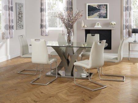 Edgbaston and Chamberlain Faux Leather Dining Set