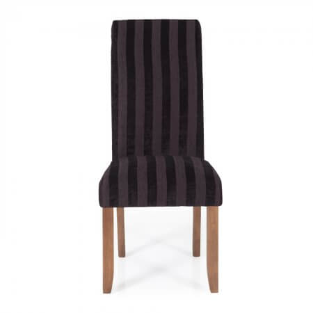 Melbourne Stripe Dining Chair with Walnut Legs