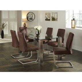 Harborne 160 cm and Boulton Faux Leather Dining Set