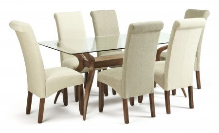 Bathurst Rectangular Glass and Melbourne Floral Dining Set
