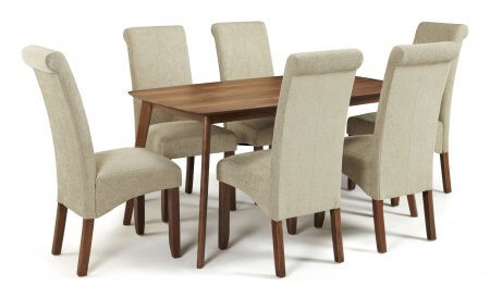 Sorrell 150cm Walnut and Melbourne Plain Fabric Dining Set